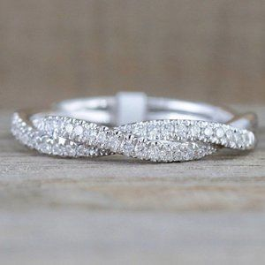 NEW 18K White Gold Diamond Twisted Eternity Ring